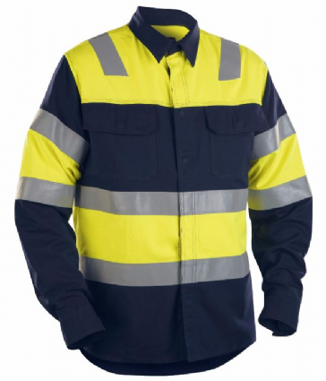 Blaklader 3228 Flame Shirt, Skjortor (Navy Blue/Yellow)
